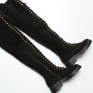 NWOB Jeffrey Campbell Over The Knee Lace Up Boots